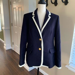 JCREW J.Crew Navy & White Wool Hacking Blazer 14